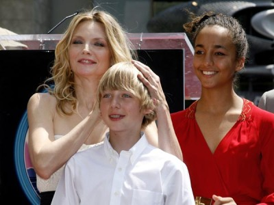 Actress Michelle Pfeiffer and children at the unveiling of her Hollywood Walk of Fame star during ceremonies in Hollywood